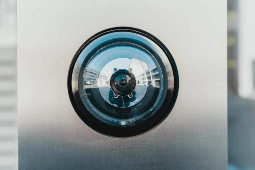 A camera outside of a building