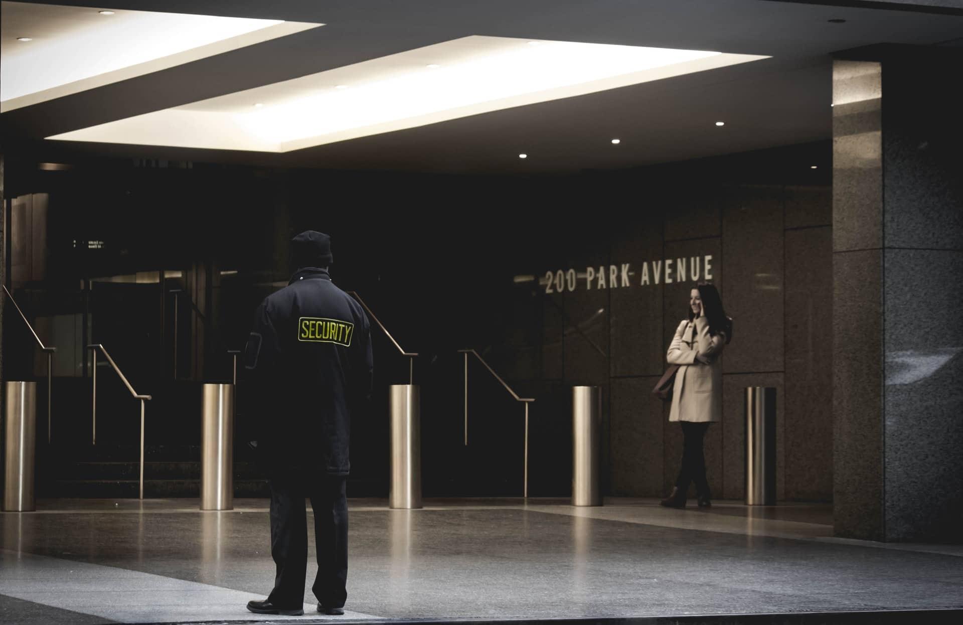 security guard guarding a bank